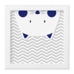 Quadro Amiguinho Gatinho Azul Marinho/Branco