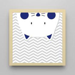 Quadro Amiguinho Gatinho Azul Marinho/Amarelo 18cm