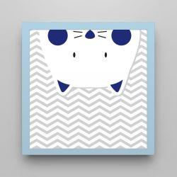 Quadro Amiguinho Gatinho Azul Marinho/Azul Bebê 18cm