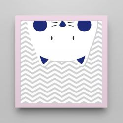 Quadro Amiguinho Gatinho Azul Marinho/Rosa 18cm