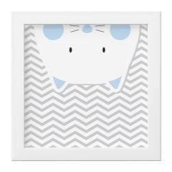 Quadro Amiguinho Gatinho Azul Bebê/Branco