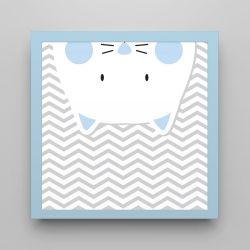 Quadro Amiguinho Gatinho Azul Bebê/Azul Bebê 18cm