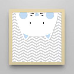 Quadro Amiguinho Gatinho Azul Bebê/Amarelo 18cm