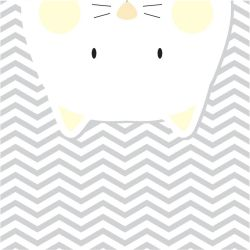 Quadro Amiguinho Gatinho Amarelo/Branco
