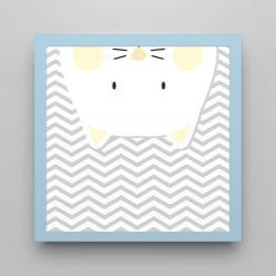 Quadro Amiguinho Gatinho Amarelo/Azul Bebê 18cm