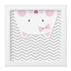 Quadro Amiguinha Gatinha Rosa/Branco