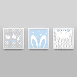 Quadros Amiguinhos Azul Bebê/Branco