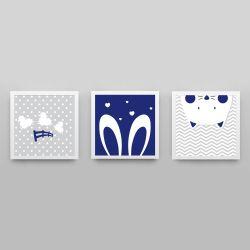 Quadros Amiguinhos Azul Marinho/Branco