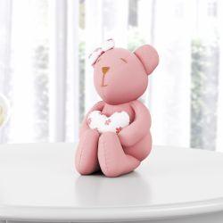 Ursa Rosé com Coração 15cm