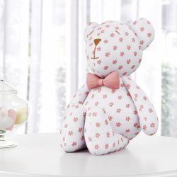 Ursinha Floral com Laço Rosé 42 cm