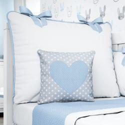 Almofada Coração Azul/Cinza Poá 26cm