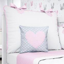 Almofada Coração Rosa/Cinza Poá 26cm