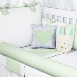 Kit Berço Coelhinho Branco/Verde Poá