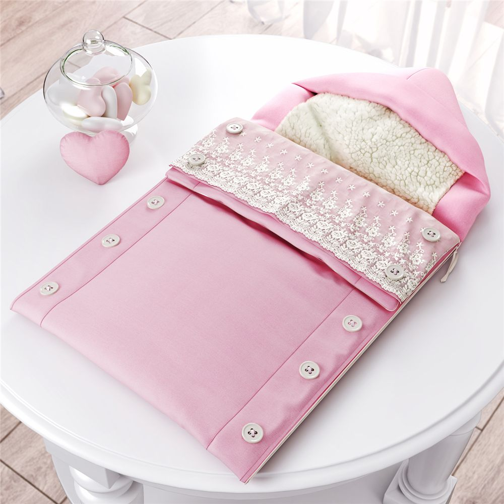 Porta Bebê Menina Rosa com Capuz Coração Grão de Gente