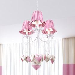 Lustre 3L Coração Rosa