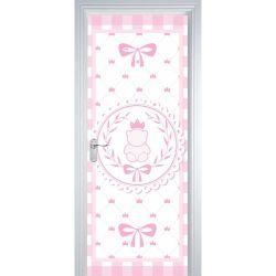 Adesivo de Porta Ursinha Clássica Rosa