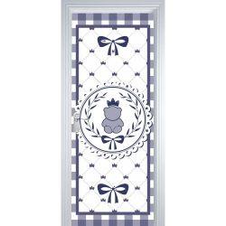 Adesivo de Porta Ursinho Clássico Azul Marinho
