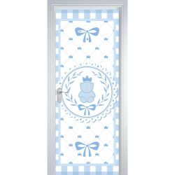 Adesivo de Porta Ursinho Clássico Azul Bebê