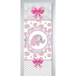 Adesivo de Porta Elefantinhos Rosa