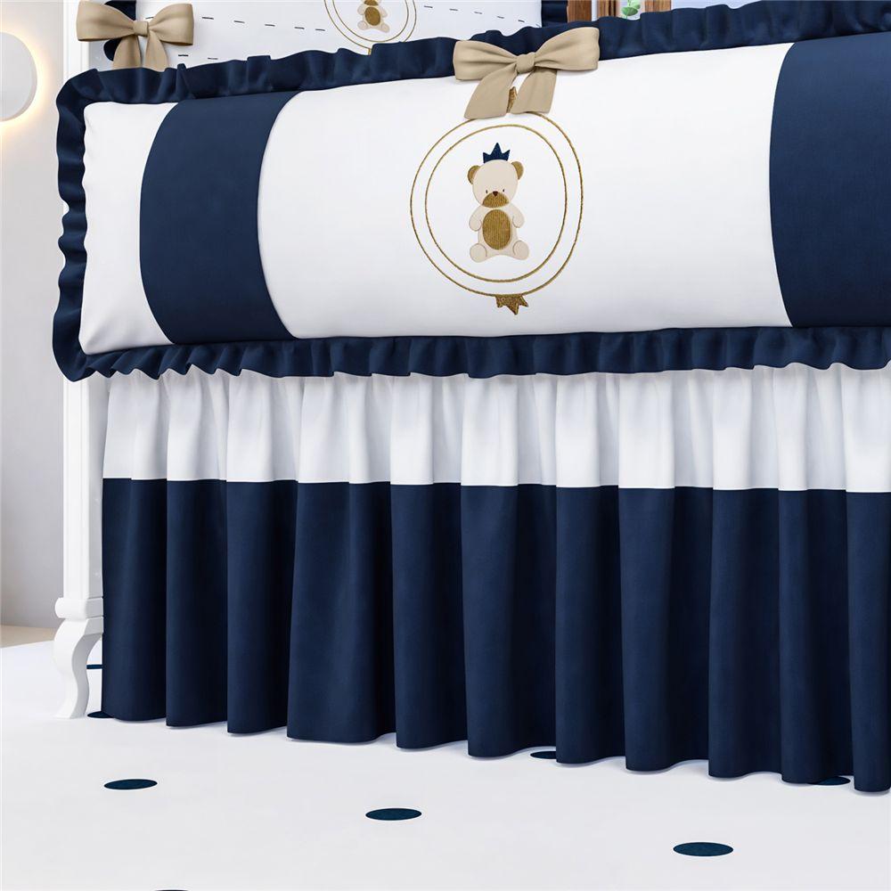 Saia Berço Azul Marinho Urso Teddy Realeza Grão de Gente