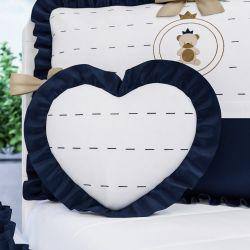 Almofada Coração com Babado Azul Marinho 33cm