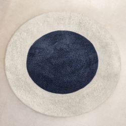 Tapete Redondo Pelúcia Azul Marinho 90cm