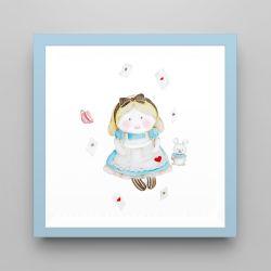 Quadro Alice e o Coelho Branco/Azul 18cm