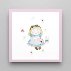 Quadro Alice e o Coelho Branco/Rosa 18cm