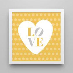 Quadro Love Amarelo/Branco