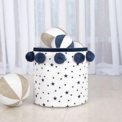 Cesto Organizador para Brinquedos Estrelas Pompom 35cm