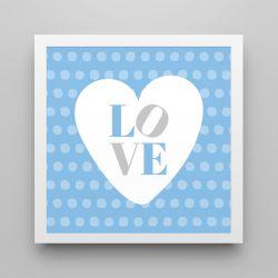 Quadro Love Azul/Branco