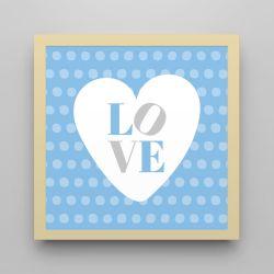 Quadro Love Azul/Amarelo 18cm
