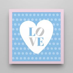 Quadro Love Azul/Rosa 18cm