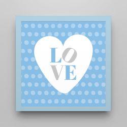 Quadro Love Azul 18cm