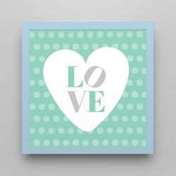 Quadro Love Verde/Azul 18cm