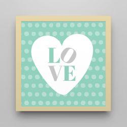 Quadro Love Verde/Amarelo 18cm