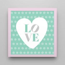 Quadro Love Verde/Rosa 18cm