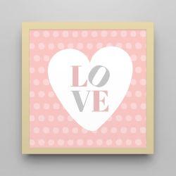 Quadro Love Rosa/Amarelo 18cm
