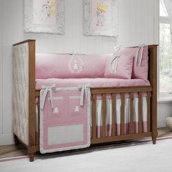 Quarto de Bebê Realeza Rosa Premium 20 Peças