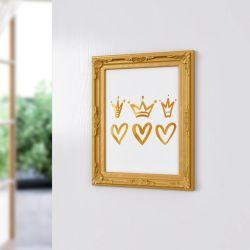 Quadro Provençal Corações e Coroas Dourado 33cm