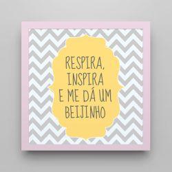 Quadro Respira e Inspira Chevron Amarelo/ Rosa 18cm