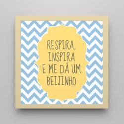 Quadro Respira e Inspira Chevron Azul/ Amarelo 18cm