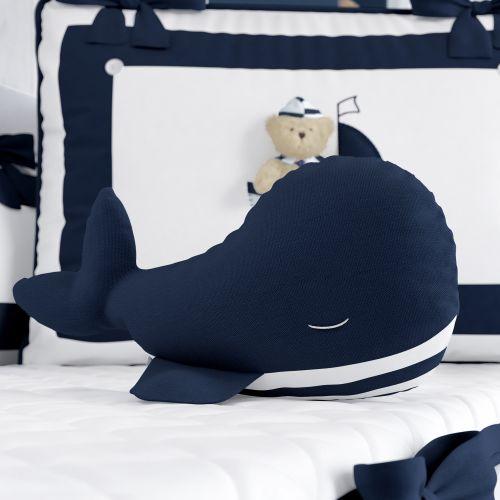 Almofada Naninha Baleia Azul Marinho 37cm