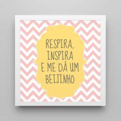 Quadro Respira e Inspira Chevron Rosa/Branco