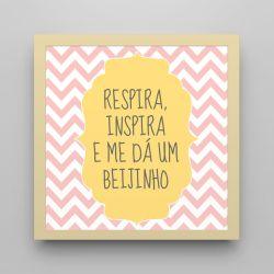 Quadro Respira e Inspira Chevron Rosa/ Amarelo 18cm