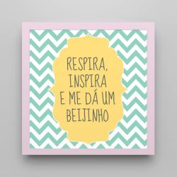 Quadro Respira e Inspira Chevron Verde/Rosa 18cm
