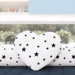 Almofada Coração Estrelinhas Azul Marinho 28cm
