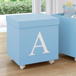 Caixa Organizadora para Brinquedos Azul com Inicial do Nome Personalizada