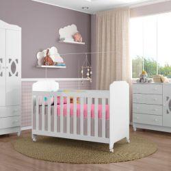 Quarto de Bebê Alana com Berço/Cômoda/Guarda-Roupa de 3 Portas