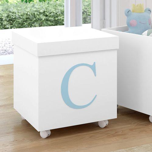 Caixa Organizadora para Brinquedos Branca com Inicial do Nome Personalizada Azul - C